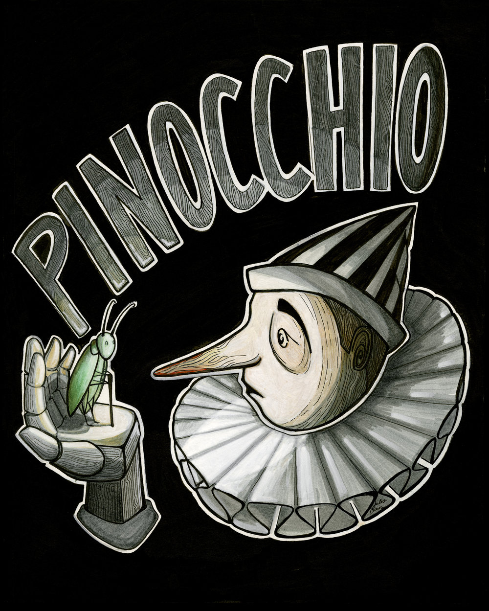 """Pinocchia"", Design for CirqueLouis poster, digital illustration by Julia Davis, 2016"