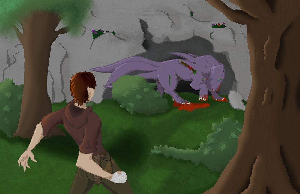 """Blood in the Woods"" by Mickaela McKinney, digital illustration"