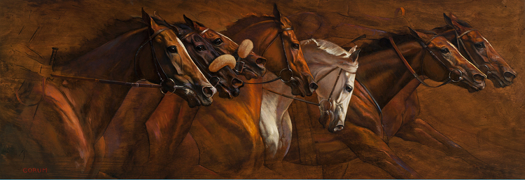 """Racing Frieze 1"" by Jaime Corum, oil on wood panel"