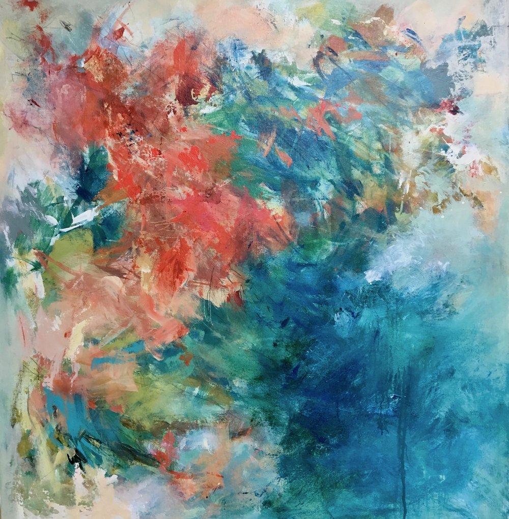 """Birds In Flight"" by Teri Dryden, Mixed media, 34x36in, 2018, $2000"