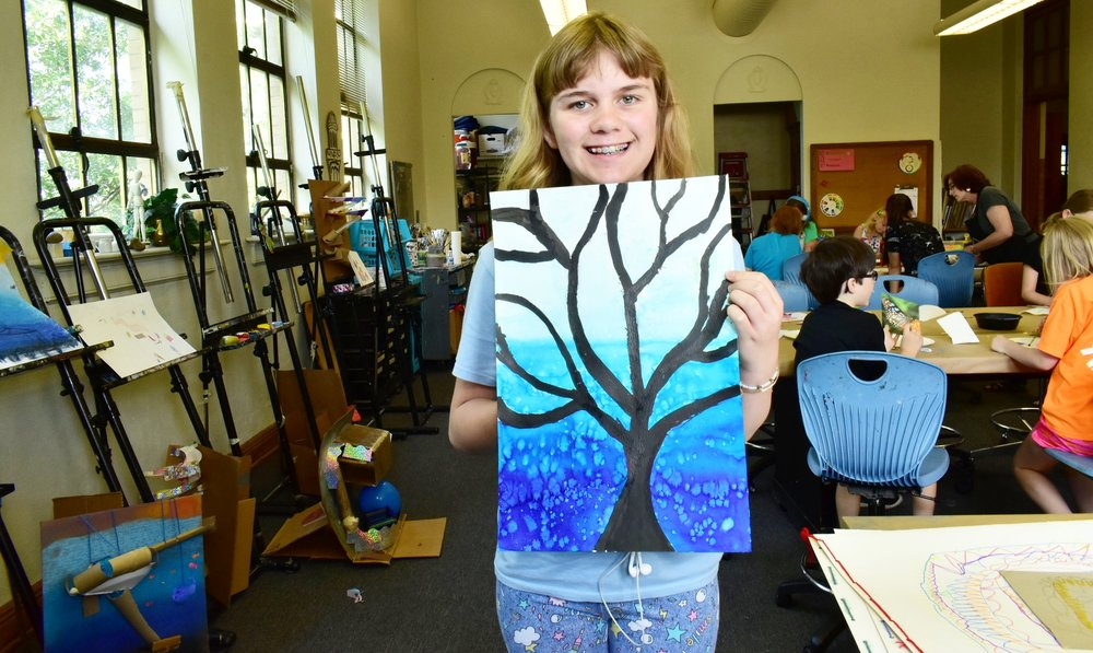 Painting lab campers are experimenting with India ink, gouache, house paints and much more.
