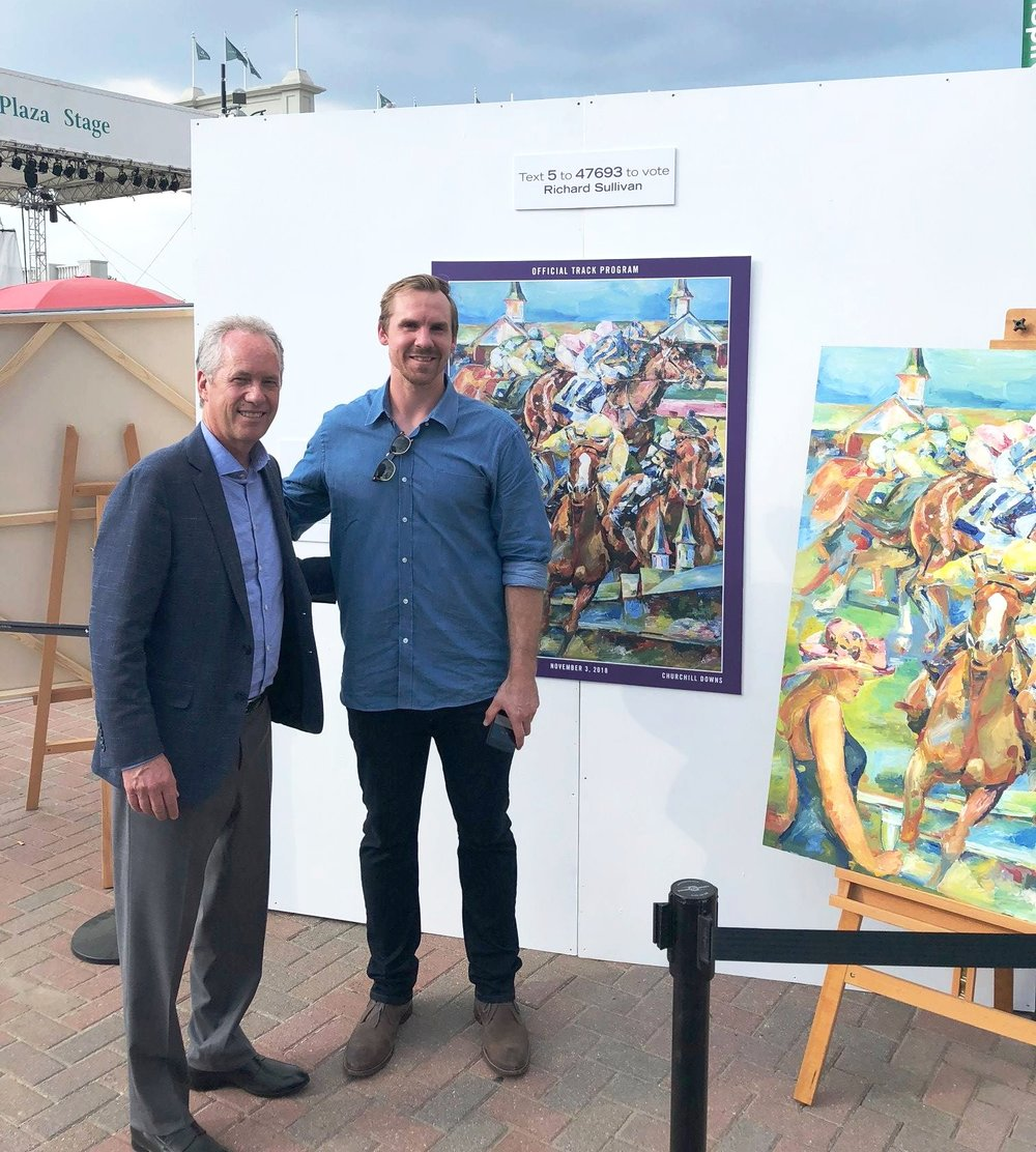 At  Downs After Dark - Art of the Horse  at Churchill Downs, finalists for the Official Artist of the 2018 Breeders' Cup displayed their art, giving racing fans chances to see their choices close-up.