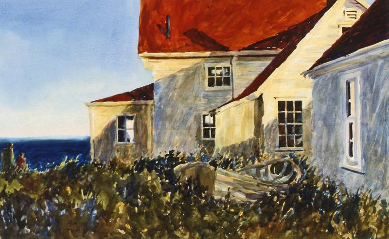 """Late Afternoon at Monhegan Light"" by Robert Halliday, Watercolor on arches paper, 25s35in, 1997, Private Collection"