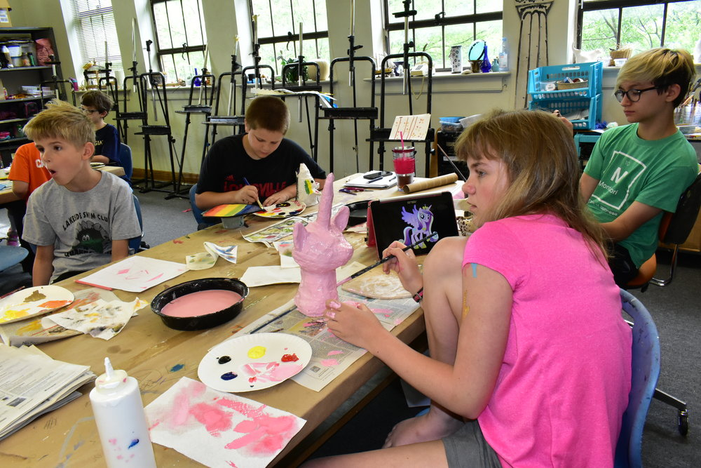 Students incorporate both 2D and 3D techniques, utilizing a variety of provided materials along with found objects to create one-of-a-kind works of art.