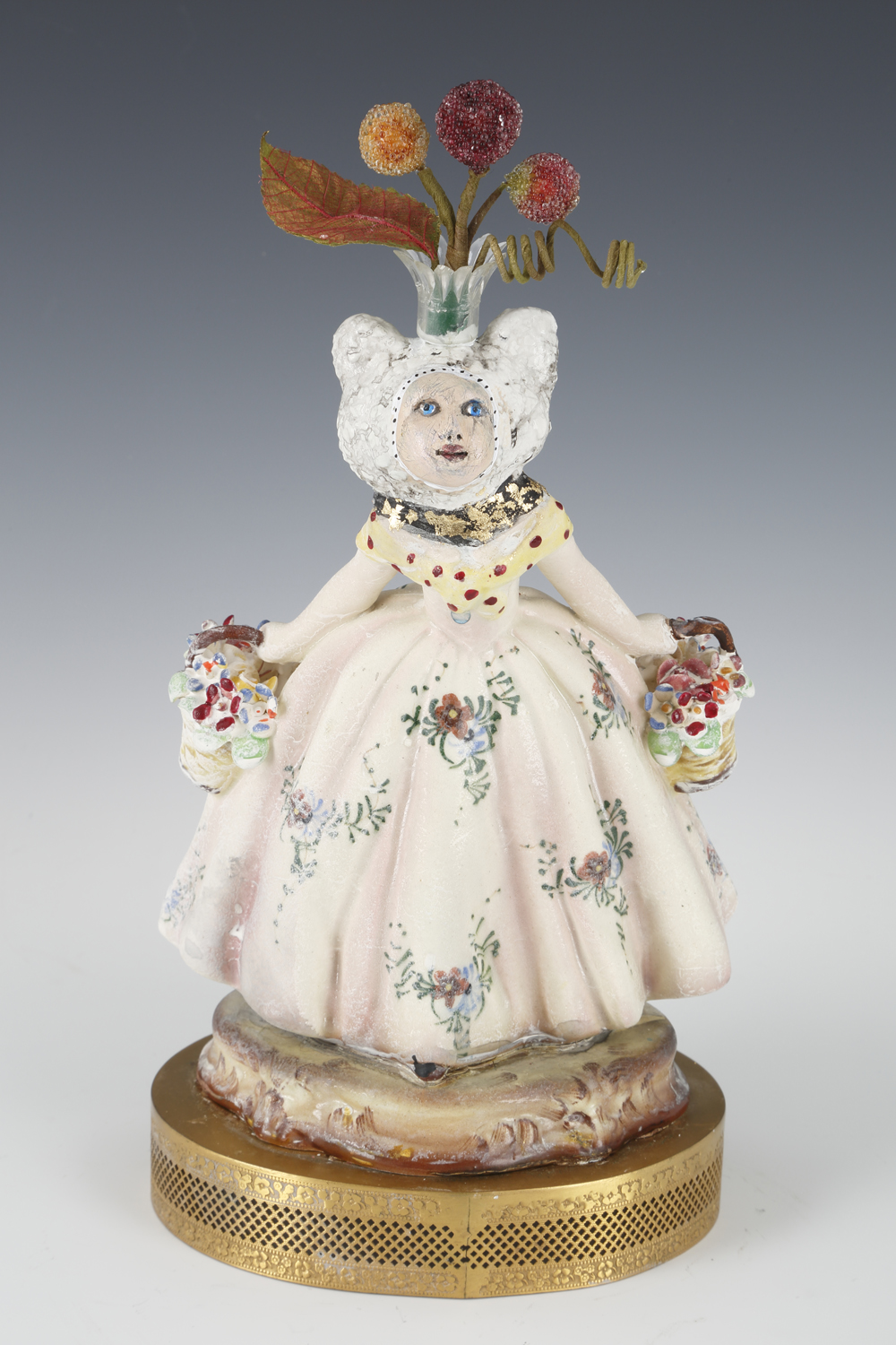 """Amelia"" by Gayle Cerlan, Clay, glaze, paint, found objects, 10x6x6.4,5in, 2018, $850"