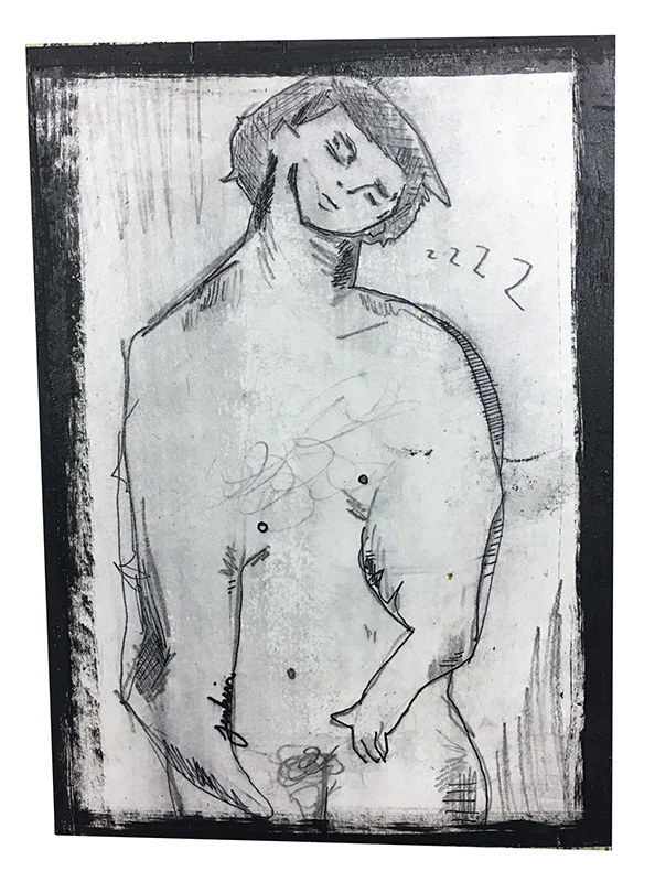 """Sleeping Nude Figure"" by Joshua Jenkins, Drawing on wood, 5x7x0.5in, 2017, $45 (available et KORE Gallery)"
