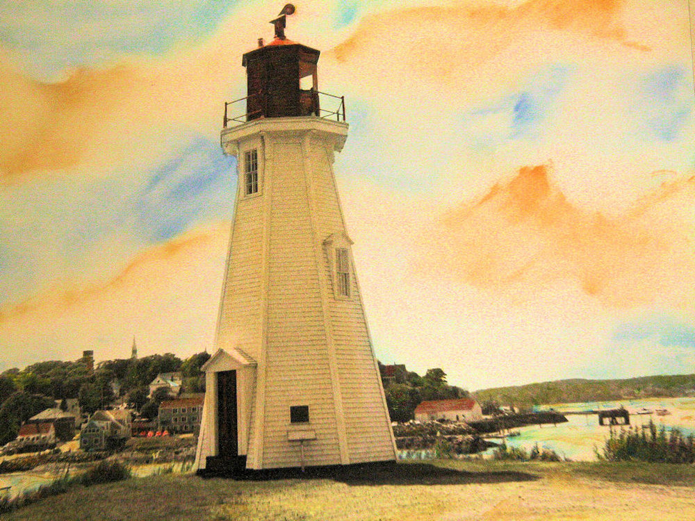 """Lubec Lighthouse, New Brunswick"" by Judy Rosati, Hand colored silver gelatin photograph, 16x20in matted & framed, 2015, $125"