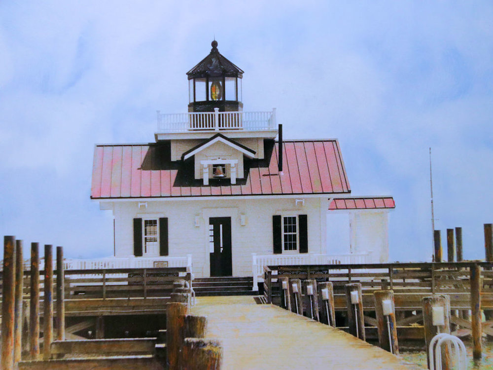 """Roanoke island Lighthouse, NC"" by Judy Rosati, Hand colored silver gelatin photograph, 16x20in matted & framed, 2017, $125"