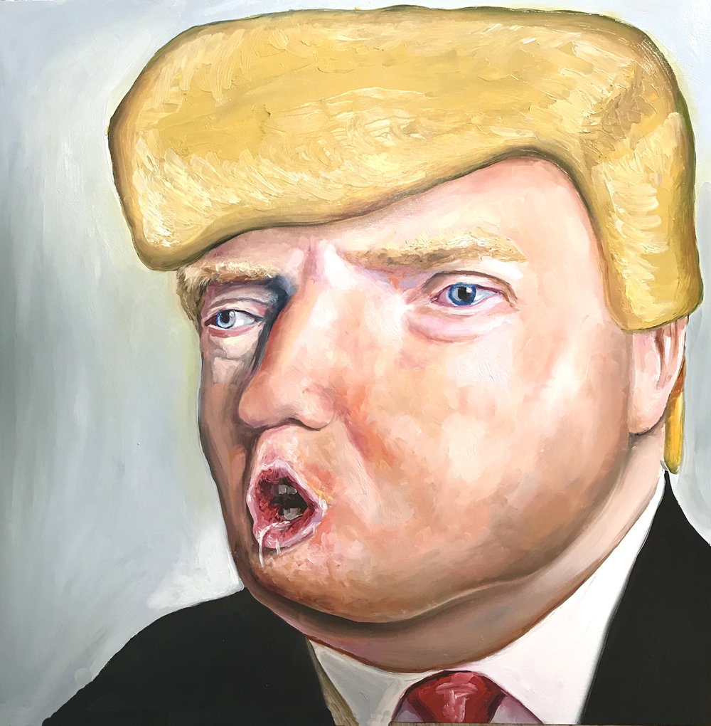 """Anus Andronicus"" by Shayne Hull, Oil on panel, 30x30in, 2018, SOLD"
