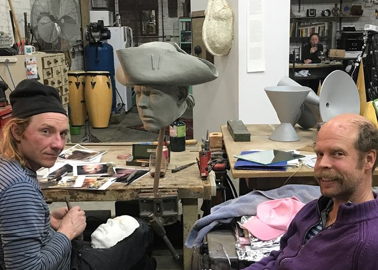 Weir in his studio with Will Oldham. Photo: Elsa Oldham.