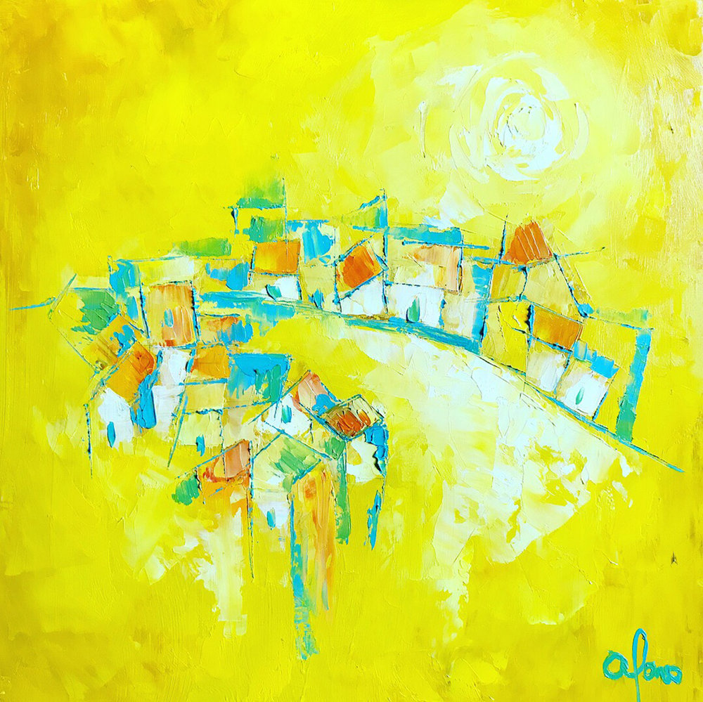 """Sunny Town"" by Andrea Alonso, Oil on wood 12x12in, 2018, $300"