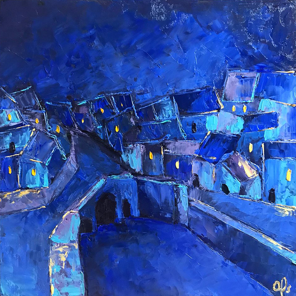 """Town at Night"" by Andrea Alonso, Oil on wood, 12x12in, 2018, $300"