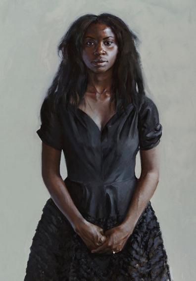 """Portrait of Neema Tambo"" by Gaela Erwin, Oil on panel, 48x36in, 2018"