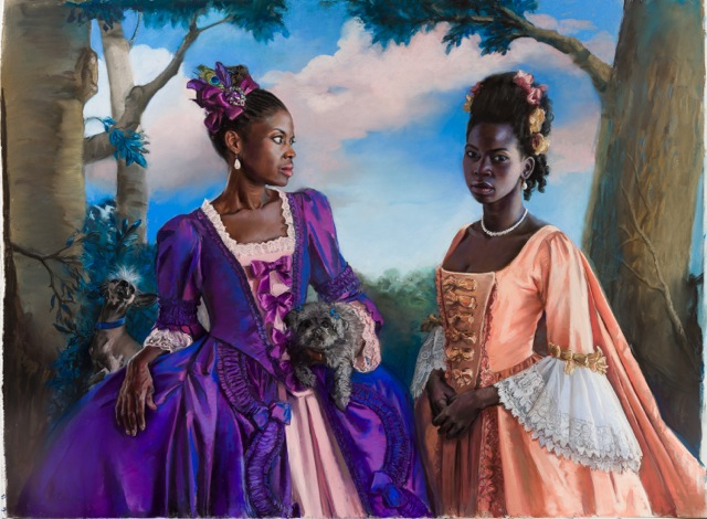 """""""Licia and Neema"""" by Gaela Erwin, Pastel on paper, 68x48in, 2016"""