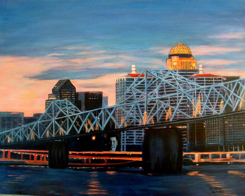 """Louisville's Ohio"", by Pat Allison, Oil on canvas, 28x22in, 2018, $500"