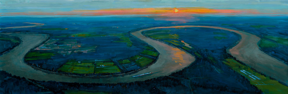"""Twisting the Night Away"" by Lynn Dunbar Bayus, Oil canvas paint, 20x60in, $3500"