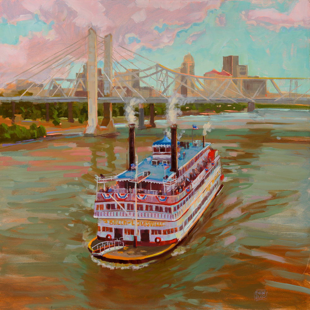 """Belle and Lincoln Bridge"" by Lynn Dunbar Bayus, Oil canvas paint, 18x18in, $1200"