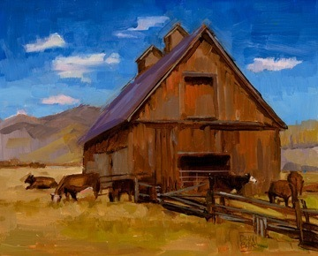 """Crested Butte Barn and Cows"" by Lynn Dunbar Bayus,  Oil on canvas, 8x10in, POR"