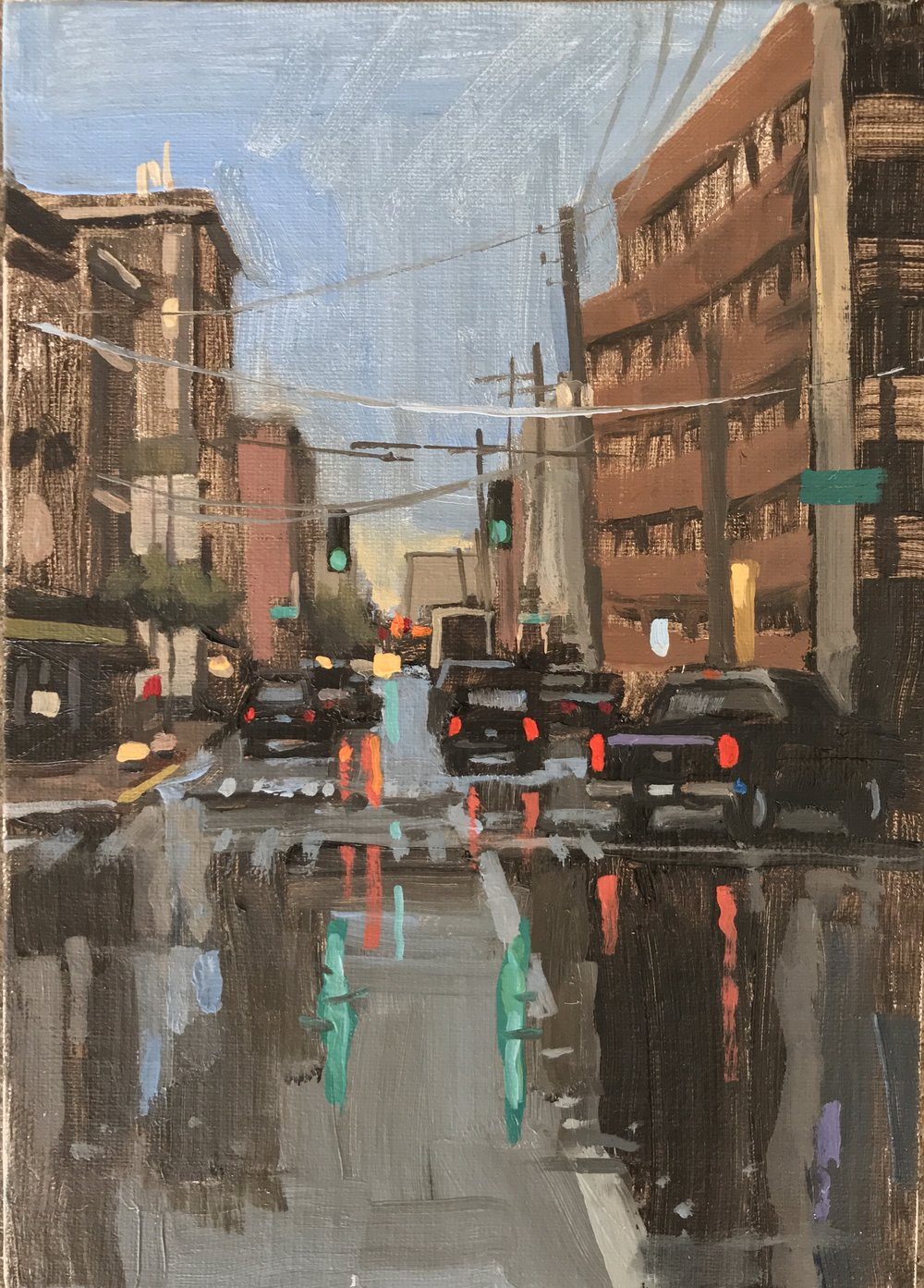 """Vine Street after Rain"" by Lynn Dunbar Bayus, Oil on canvas, 5x7in, 2018, POR"