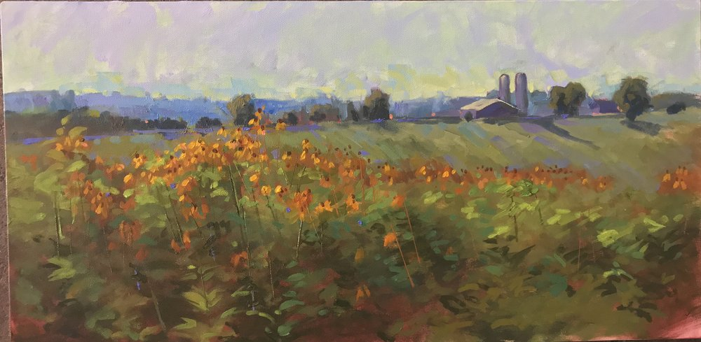 """Black Eyed Susans"" by Lynn Dunbar Bayus, Oil on canvas, 12x24in, 2018, POR"
