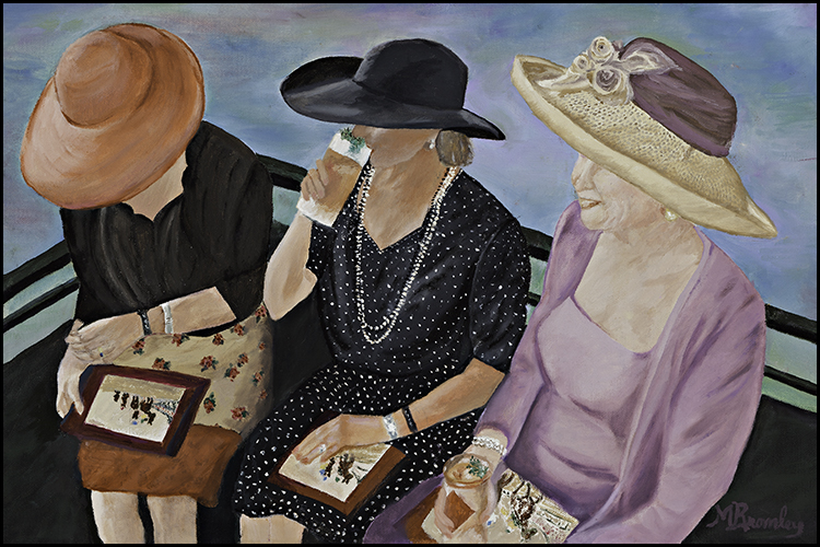 """Winning Trifecta?"" by Margaret Bromley, Oil on canvas, 12X18in (gold leaf frame) 2009, $350"