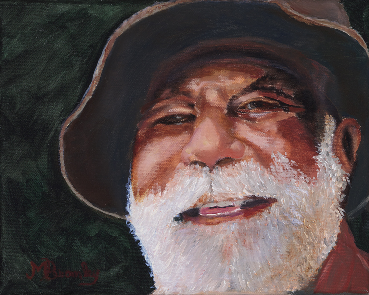 """Fisherman Bill"" by Margaret Bromley, Oil on canvas, 8x10, (floating frame), $300"