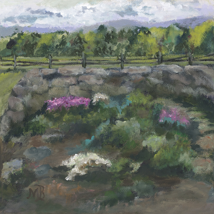 """Vermont Herb Garden "" by Margaret Bromley, Oil on canvas, 8x8in, $225"