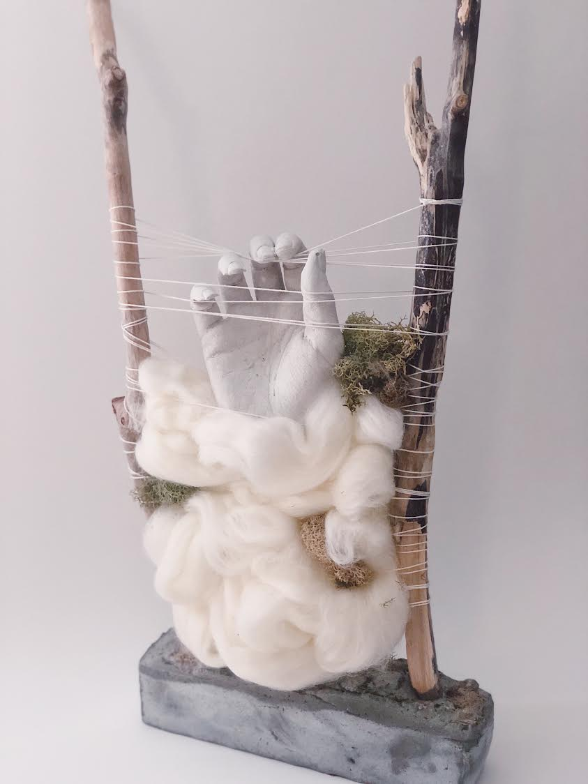 """Holding Fast"" by Stephanie Tanner, Concrete, Wool, Wood, 8x22x18in, 2018, $250"