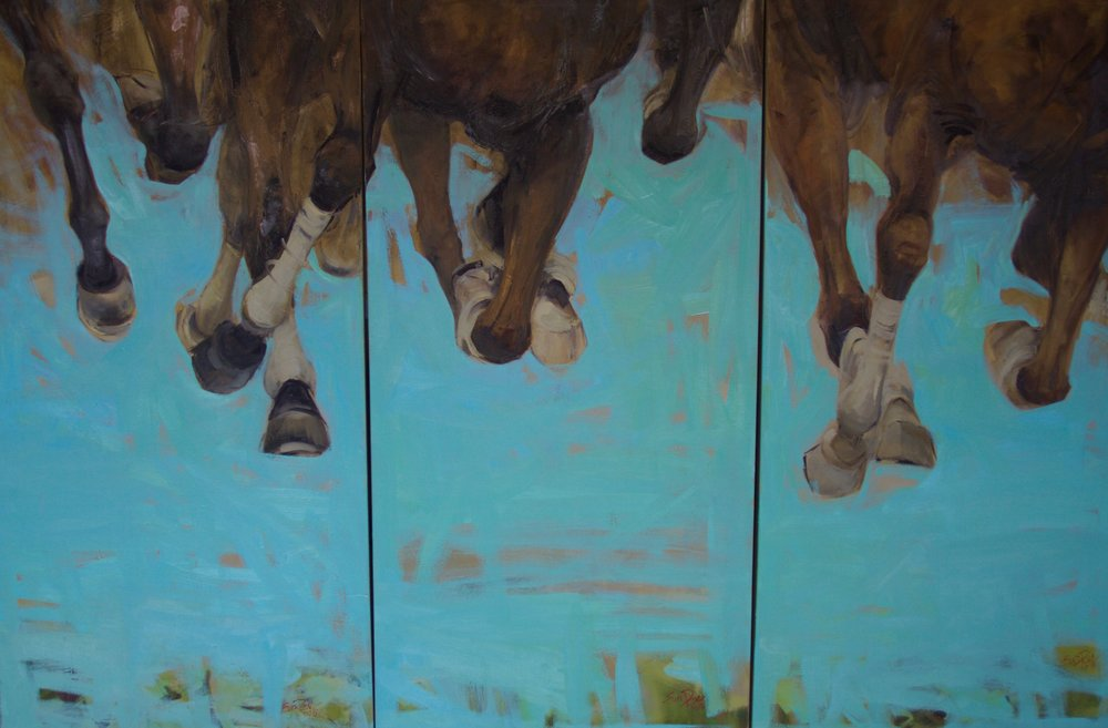 """Run"" by Ewa Perz, Oil on canvas, 48x72in (triptych), 2018, $2200"
