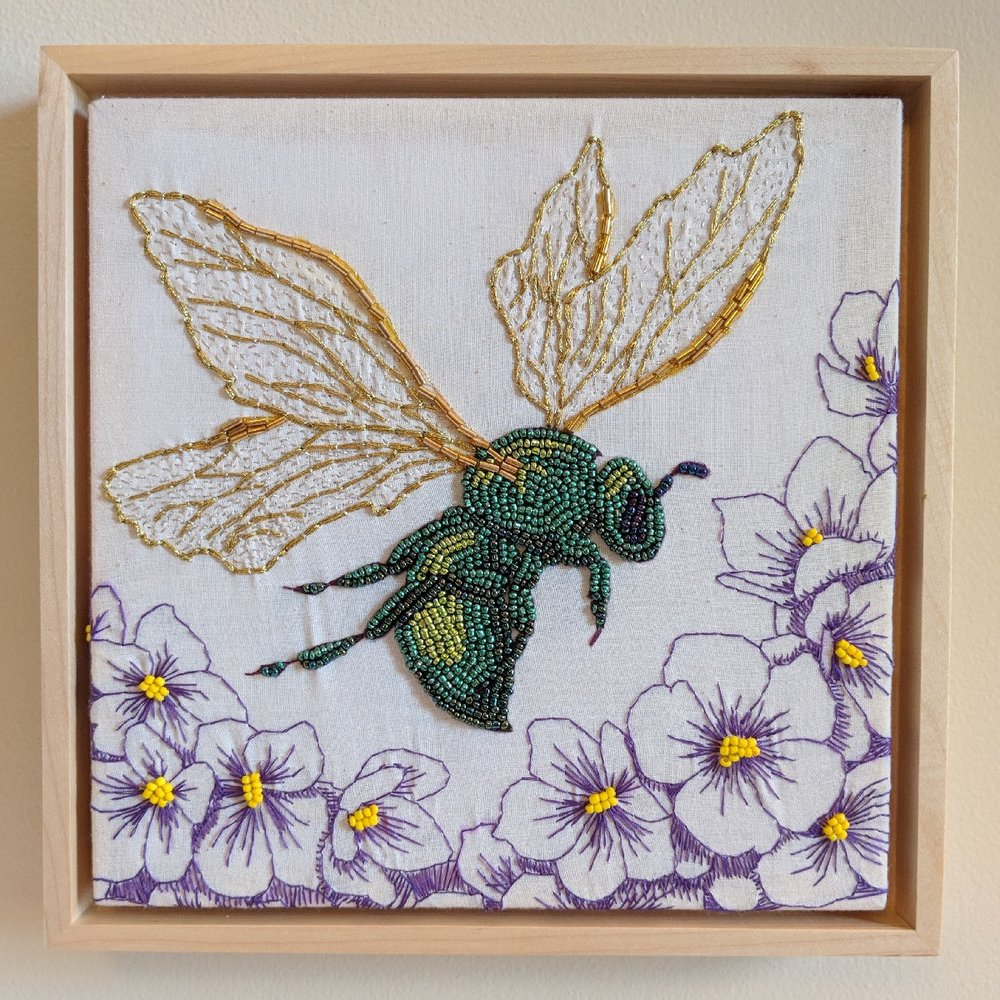"""Green Bee Revisited"" by Jesi Evans, Mixed media embroidery, 8x8in, 2018, $500"