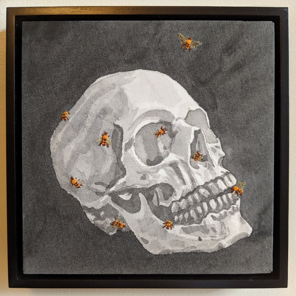 """Skull with Nine Bees"" by Jesi Evans, Mixed media embroidery, 8x8in, 2015, $500"