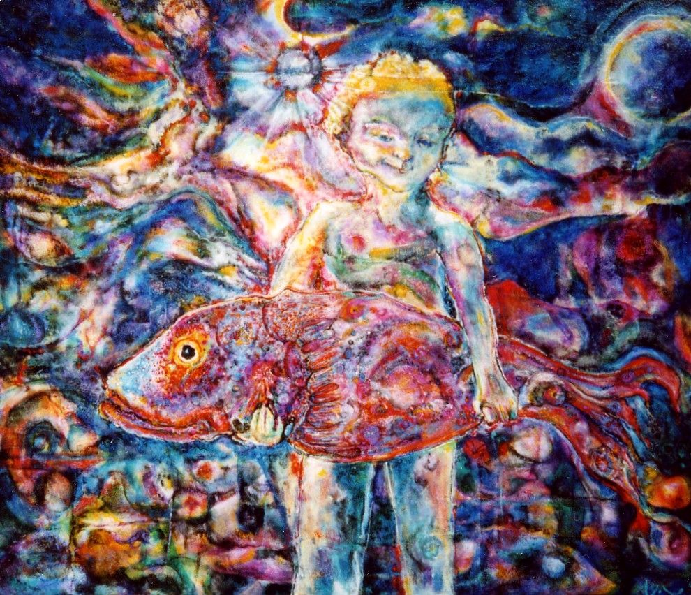 """Boy With Fish"" by Victor Troutman, Acrylic on canvas, 28x32in, 2002, Private Collection"