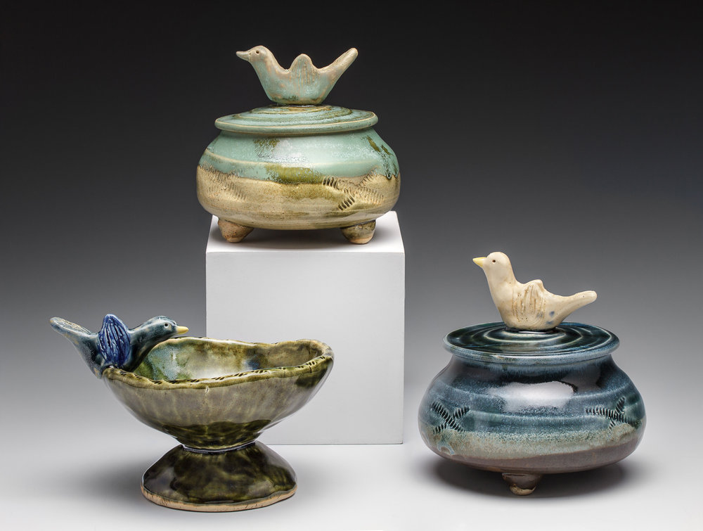 """Jewelry Jars and Ring Holder"", by LIsa Kurtz, Stoneware, thrown and pinched, Jars: 3.75x4x3.5in, SOLD, Ring Holder: 3.75x5.4in, SOLD"