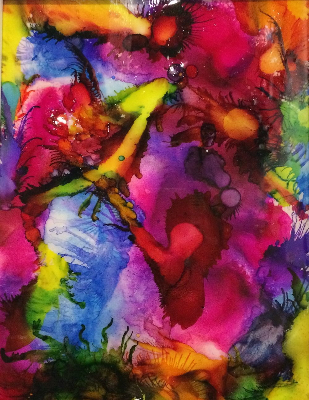 """Circus Colors"" by Meredith Hayden, Alcohol Ink with air duster on Ceramic Tile, 12x218in, 2018, $350"