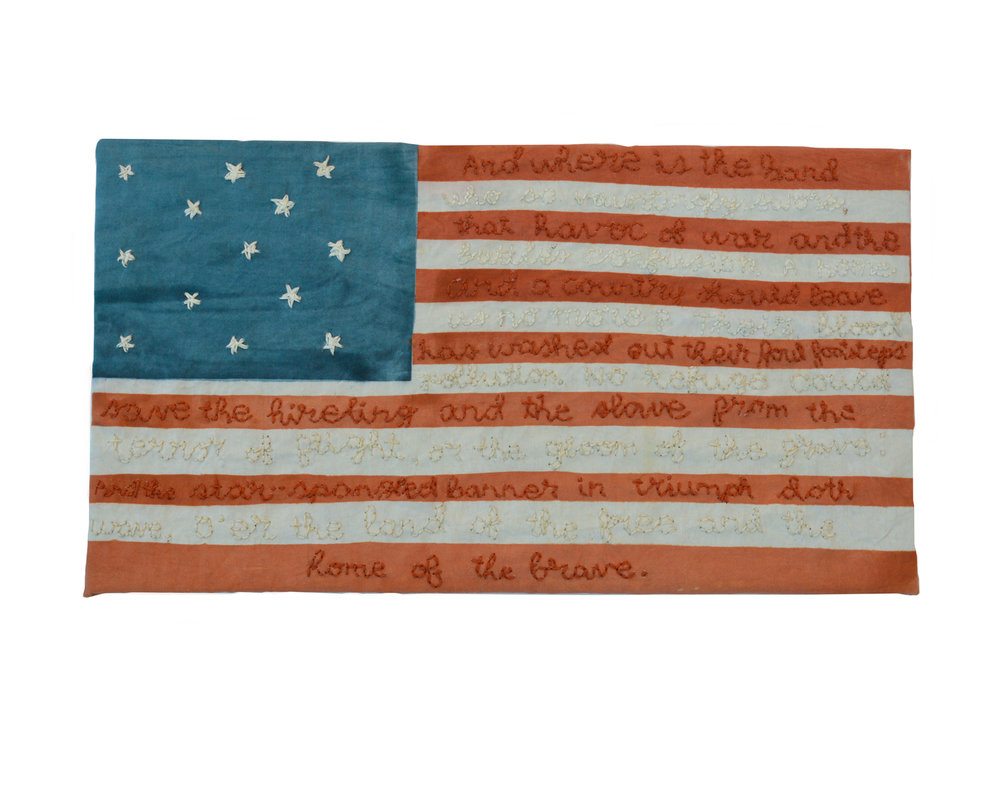 """Great Garrison Flag"" by Samantha Ludwig, Hand Dyed Embroidered Cotton, 6x13in, 2017, Part of the Permeant Collection of Omni Hotel, Louisville, Ky"