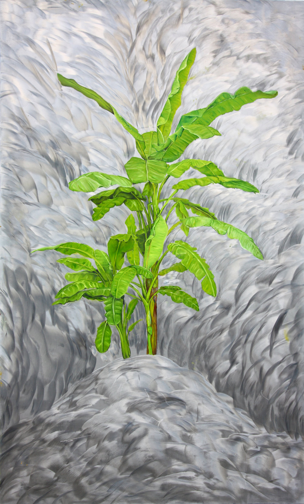 """Banana Tree"" by James Russell May, Oil on aluminum, 40x25in, 2017, $3000."