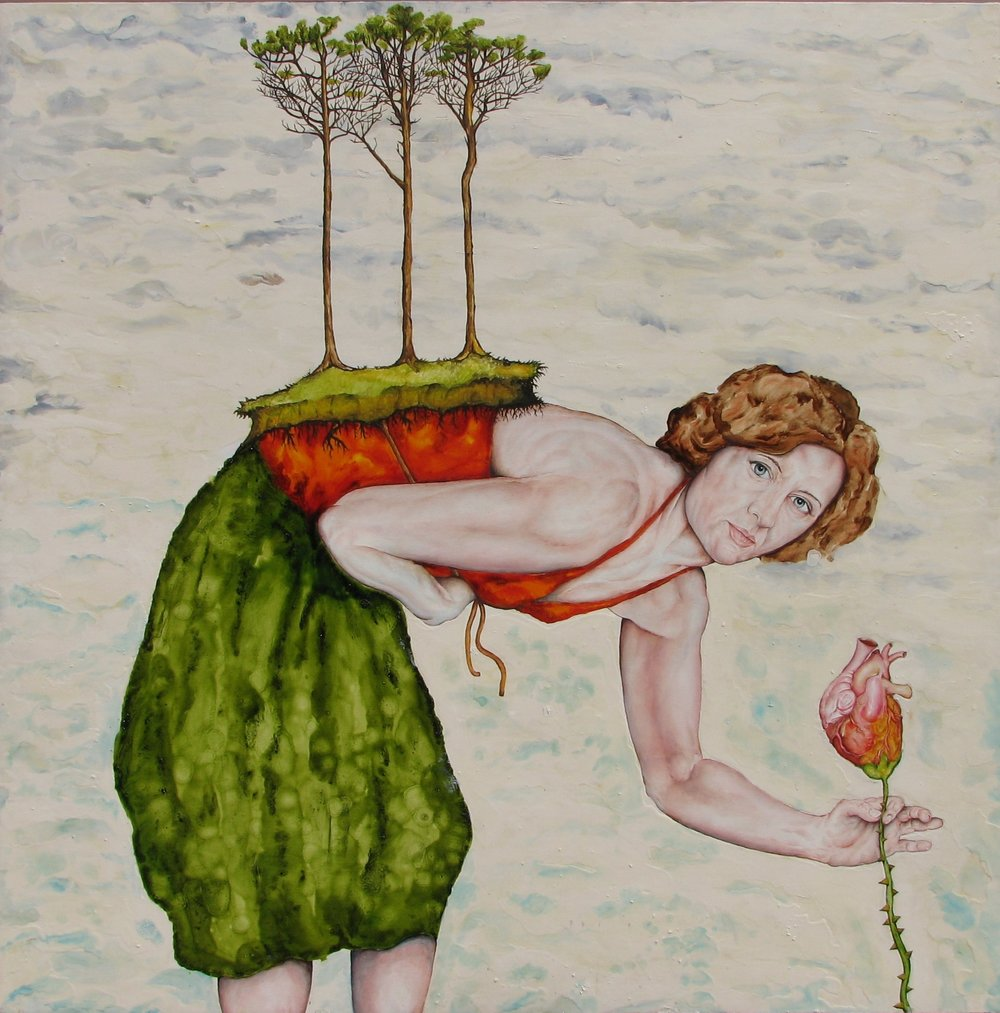 """In the Garden"" by James Russell May, Oil and alkyd resin on wood, 48x48in, 2007, $5000"