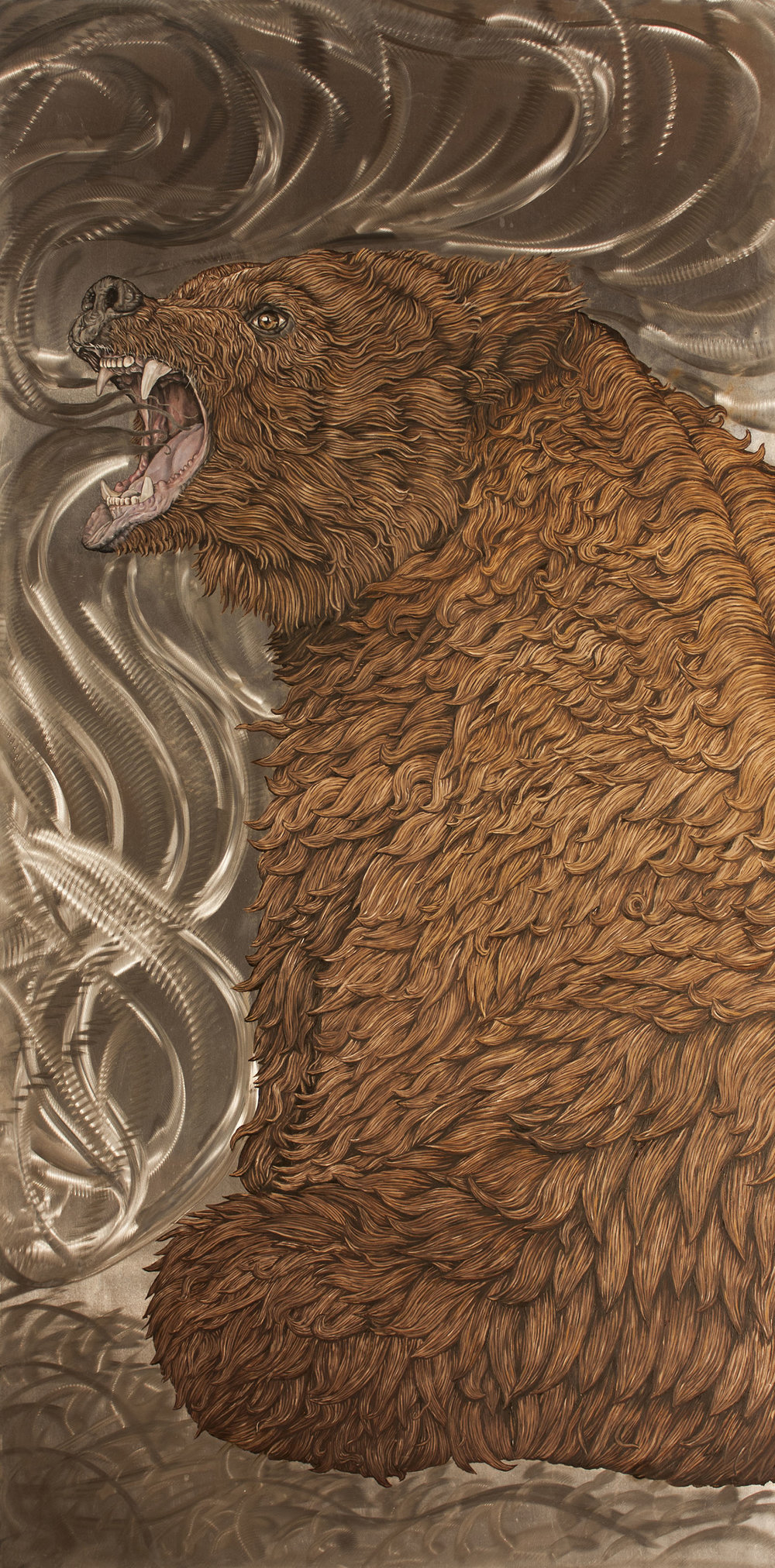 """Bear II"" by James Russell May, Oil on aluminum, 48x24in, $5500"