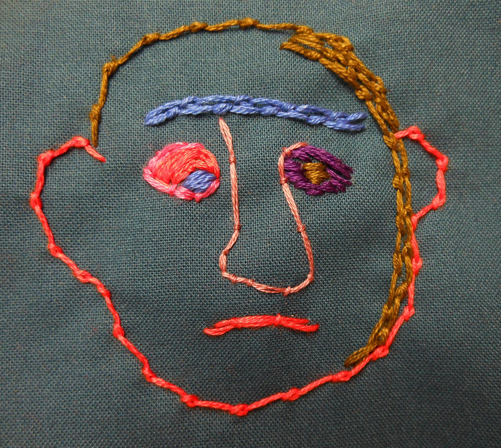 "'Sad Guy (detail)"" by Kathleen Loomis, Hand stitching on cotton, 4x4in (one 4x4 panel in assembly of 366 daily stitchings), 2012, NFS"