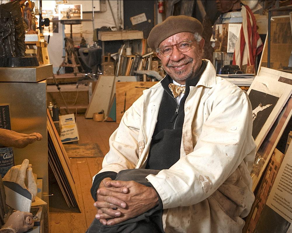 Ed Hamilton, renowned Louisville sculptor, in his studio, 2019.