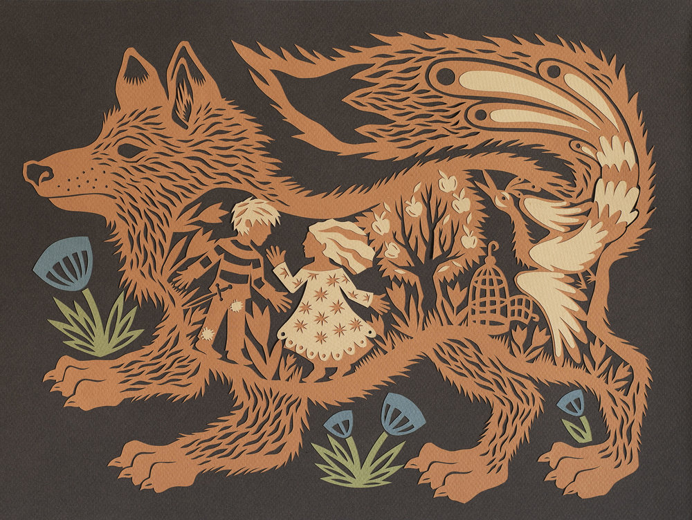 "'""Hansel and Gretel"" by Monica Stewart, Cut paper, 9 ½ x 11 ½ inches, 2018"