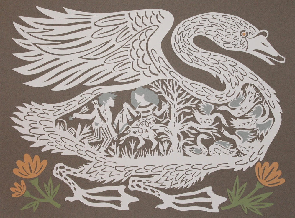 """The Six Swans"" by Monica Stewart,, Cut paper 15 1/2 x 11 1/2 inches, 2017"