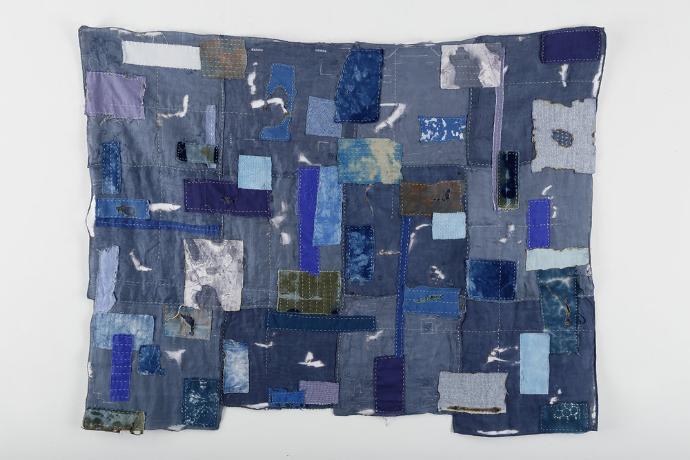 """Boro II"" by Bette Levy, Hand stitched, cotton thread, dyed handkerchiefs, various fabrics, 30x38in, 2018, $800"