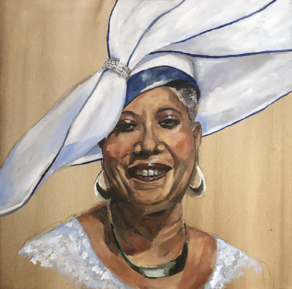 """Pam"" by Sandra Charles, Oil on canvas, 30x30in, 2018, $2750"
