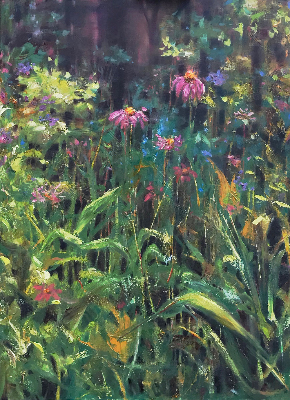 """Volunteers of Summer"" by Greta Mattingly Oil, 40x30in, 2018, $2400"