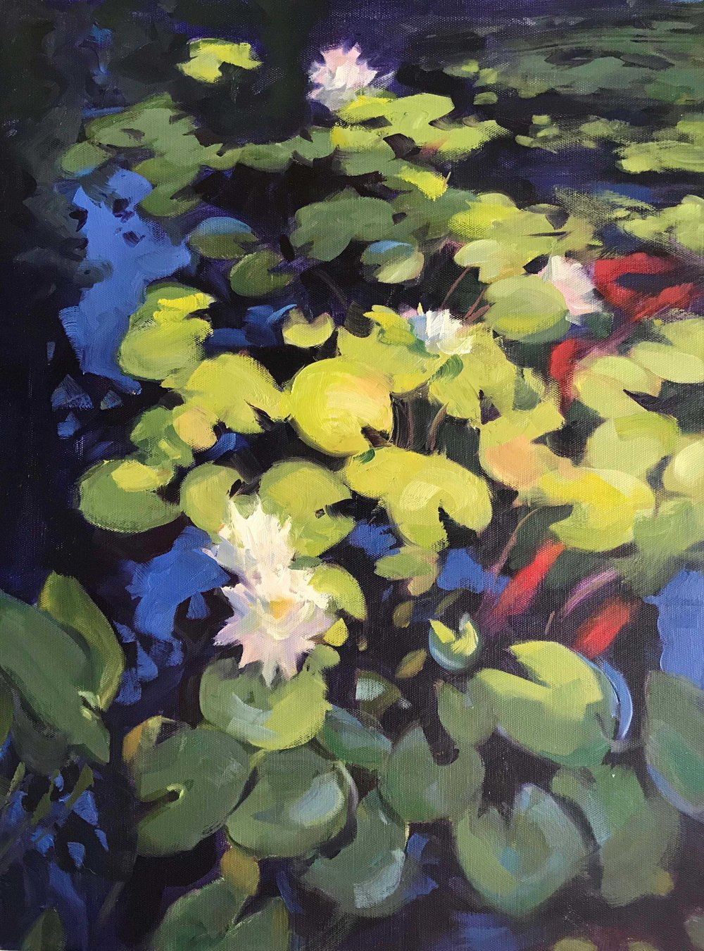 """Summer Pond"" by Greta Mattingly, Oil, 24x18in, 2018, $1100"