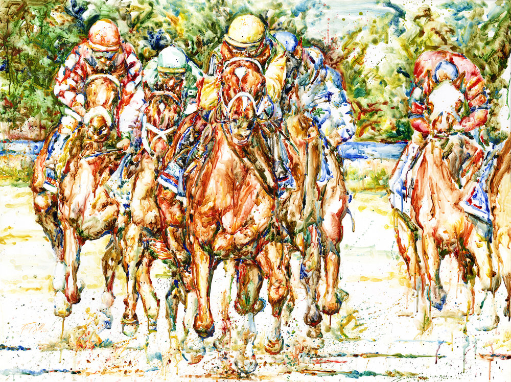"""Charismatic and Field"" by Richard Sullivan, Watercolor, 36x48in, 2019, Kentucky Derby Musuem"