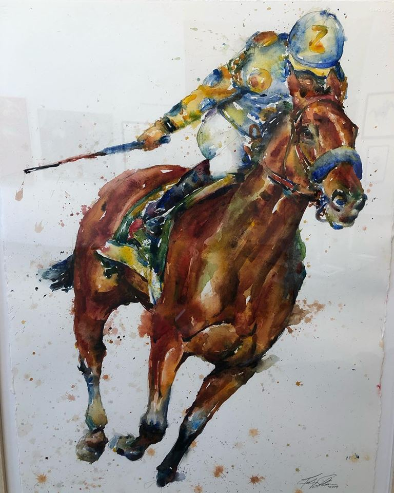 """American Pharoah"" by Richard Sullivan, Watercolor on paper, 22x30in, at Craft(s) Gallery & Mercantile"