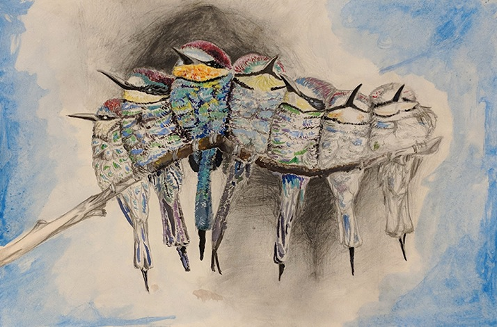 """Birds on a Branch"" by Ian Kimbell, New Albany High School, from the Academy class at IUS"