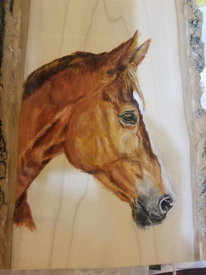 """Horse"" by Macei Hamilton, Acrylic on wood, 12x10in, 2018, Private Collection"